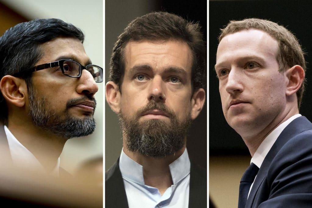 Les dirigieants de Twitter, Facebook et Google.